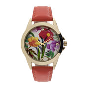 Womens Floral Dial Orange Strap Watch