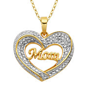 Silver Reflections™ Diamond-Accent 18K Yellow Gold Over Brass Mom Pendant Necklace