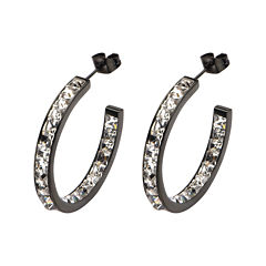 Stainless Steel and Black IP Crystal In-Out Hoop Earrings