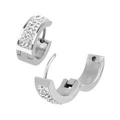 Cubic Zirconia Stainless Steel Huggie 17mm Hoop Earrings