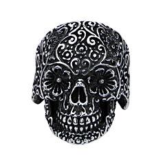 Stainless Steel Dia de los Muertos Skull Ring