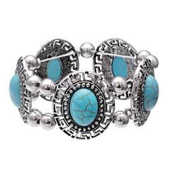 Mixit Womens  Turquoise Round Cabochon Stretch Bracelet