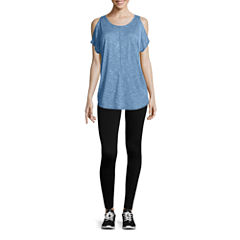 City Streets Cold Shoulder Short Sleeve Tee or Seamless Leggings