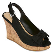 CL by Laundry Imagined Eyelet Peep-Toe Wedges