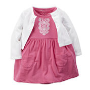 Carter's® Short-Sleeve Embroidered Bodysuit-Dress with Cardigan - Baby Girls newborn-24m