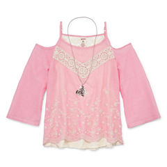 Arizona Girls Cold Shoulder Woven Top with Necklace - Girls' 7-16 and Plus