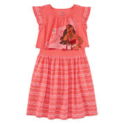 Disney Short Sleeve Moana A-Line Dress - Toddler