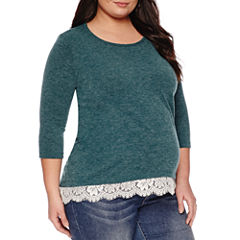 3/4 Sleeve Scoop Neck Pullover Sweater-Plus Maternity