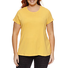 St. John's Bay Short Sleeve Crew Neck T-Shirt-Womens Plus