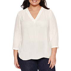 a.n.a® 3/4-Sleeve Shirred V-Neck Blouse - Plus