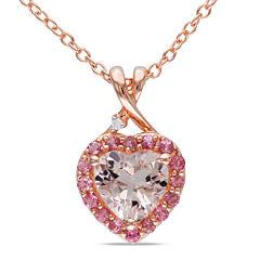 Genuine Morganite, Pink Tourmaline and Diamond-Accent Heart Pendant Necklace