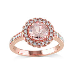 Genuine Morganite and Diamond 14K Rose Gold Over Sterling Silver Ring