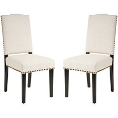 Vincent Set of 2 Upholstered Dining Chairs w/ Nailhead Trim