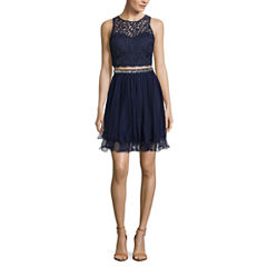 My Michelle 2Pc. Lace Illusion Top Wire Hem Dress Set-Juniors