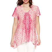 Gloria Vanderbilt Short Sleeve Woven Blouse