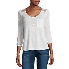 Self Esteem 3/4 Sleeve V Neck T-Shirt with Necklace-Juniors