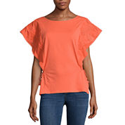 a.n.a Embroidered Flutter Sleeve Tee