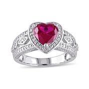 Heart-Shaped Lab-Created Ruby and 1/10 CT. T.W. Diamond Sterling Silver Ring