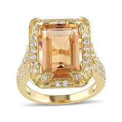 Genuine Citrine, White Topaz and Diamond-Accent Ring