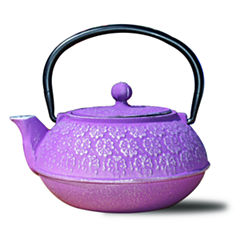 Old Dutch 22 Oz Plum Cast Iron Cherry Blossom Teapot