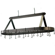 Old Dutch Oiled Bronze Oval Hanging Pot Rack withGrid and 24 Hooks