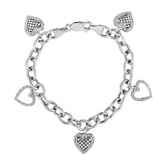 1/5 CT. T.W. Diamond Sterling Silver 5-Charm Heart Bracelet