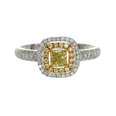 Womens 3/4 CT. T.W. Oval Yellow Diamond 14K Gold Engagement Ring