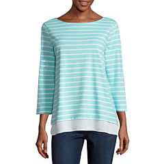 St. John's Bay 3/4 Sleeve Boat Neck T-Shirt-Womens