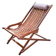 Outdoor Interiors Brazilian Eucalyptus Swing Lounger with Pillow