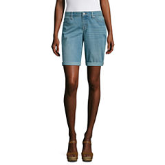 "a.n.a 9"" Denim Bermuda Short, unrolls to 11"""
