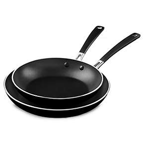 "KitchenAid Aluminum Nonstick 10"" and 12"" Skillets Twin Pack"
