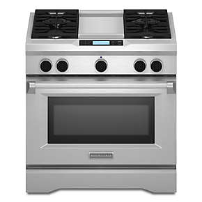36-Inch 4-Burner with Steam-Assist Oven, Dual Fuel Freestanding Range, Commercial-Style