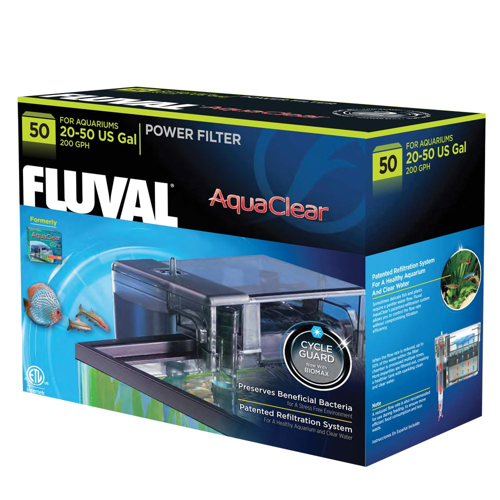 Aqua Clear Fluval Power Filter Size 50 Gal