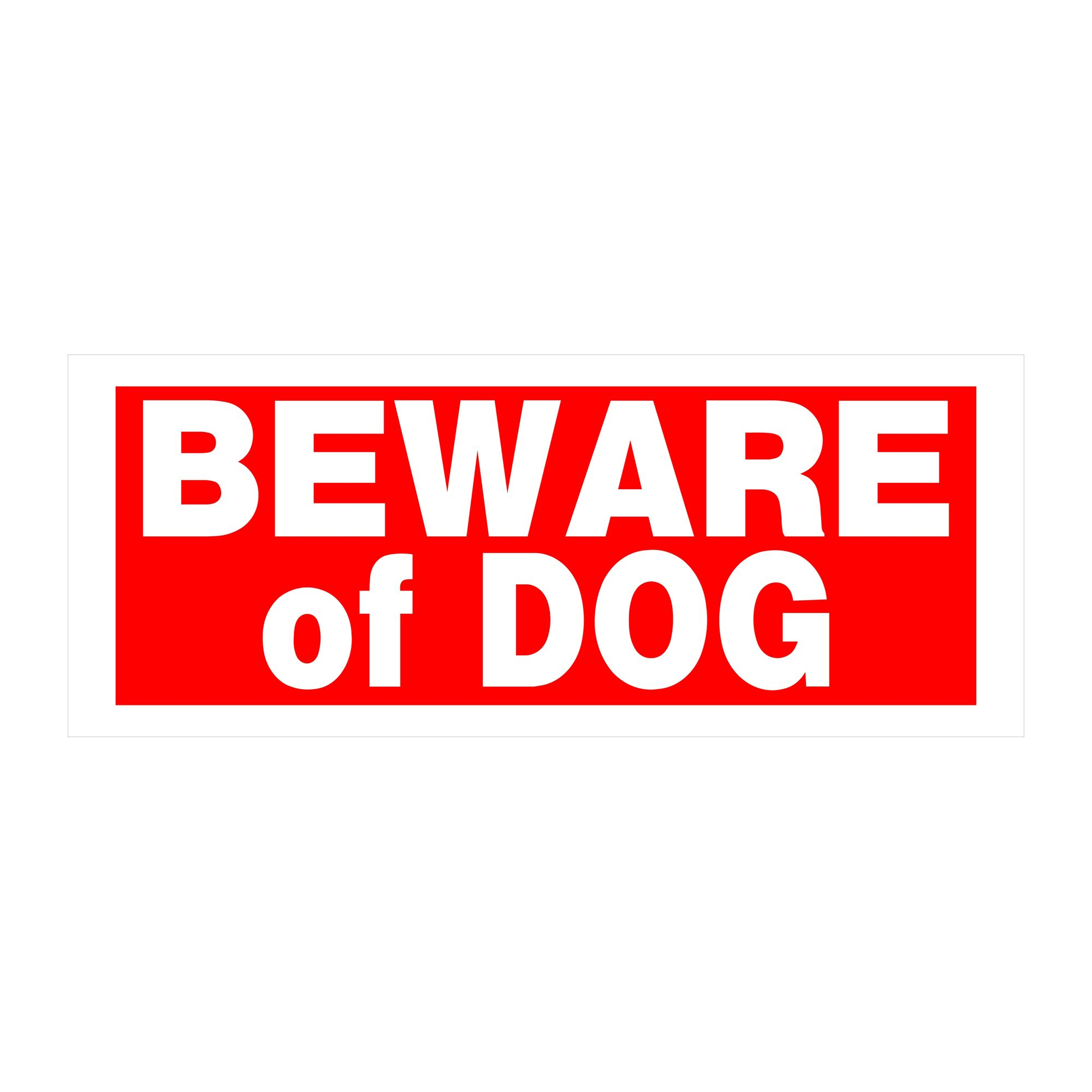 Hillman Sign Center Plastic Beware Of Dog Sign Red White