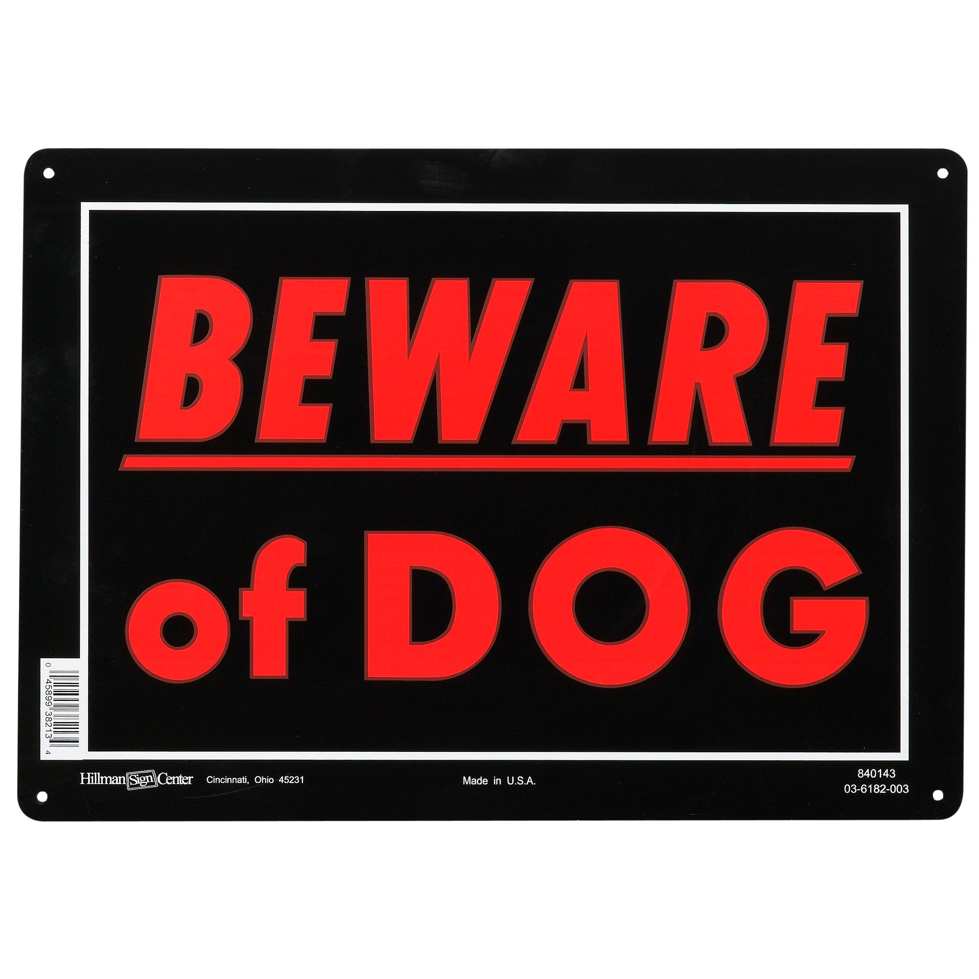 Hillman Sign Center Aluminum Beware Of Dog Sign Red Black