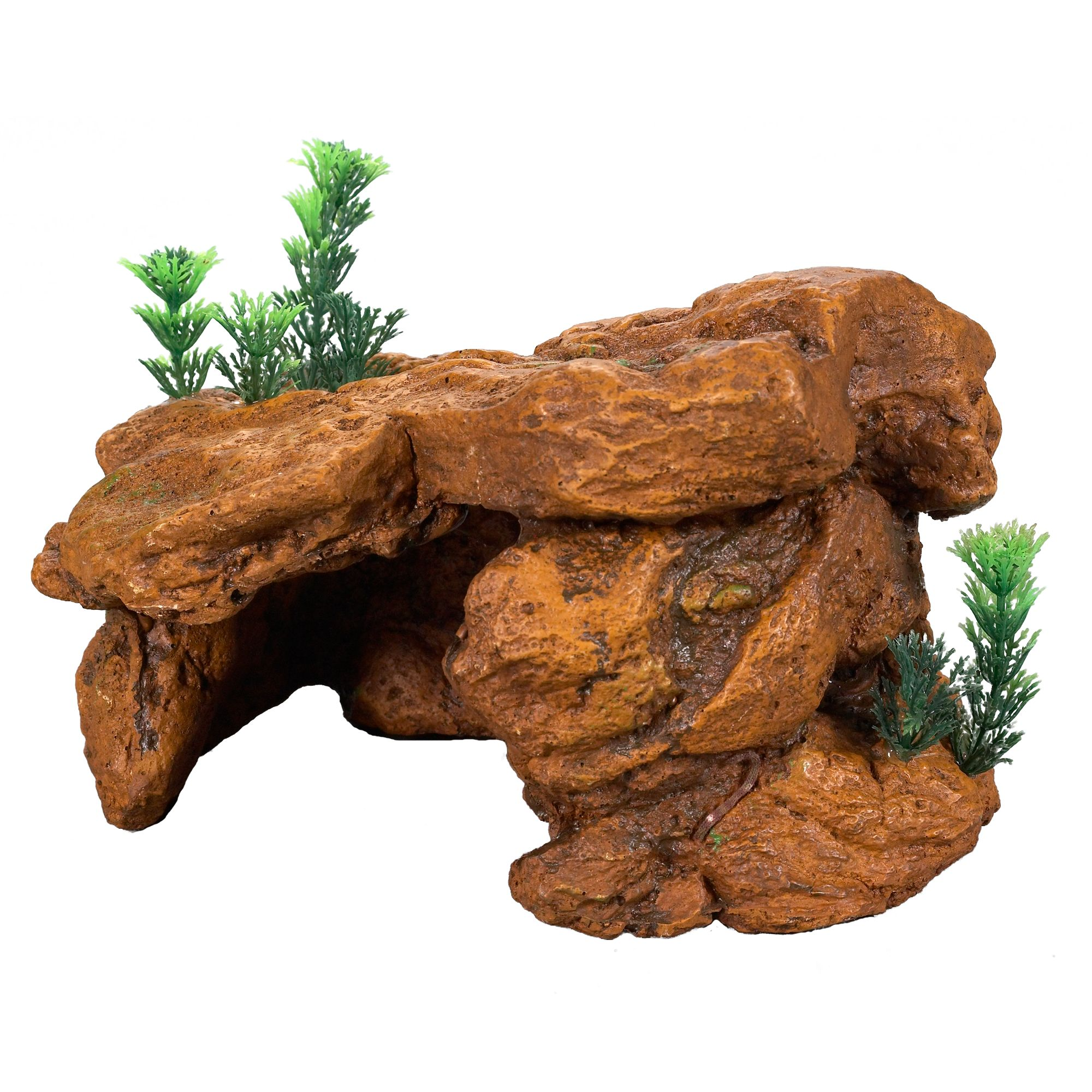 Top Fin Slate Rock Aquarium Cave Orange