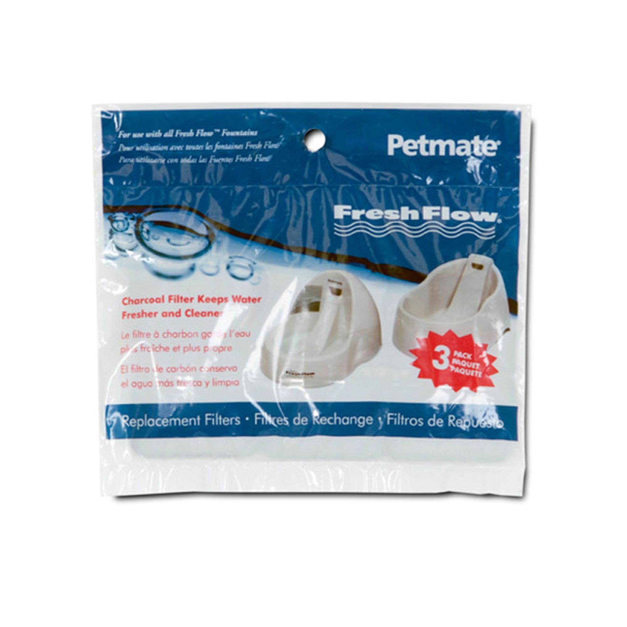 Petmate® Fresh Flow Pet Fountain Charcoal Replacement Filter size: 3 Count 5060247