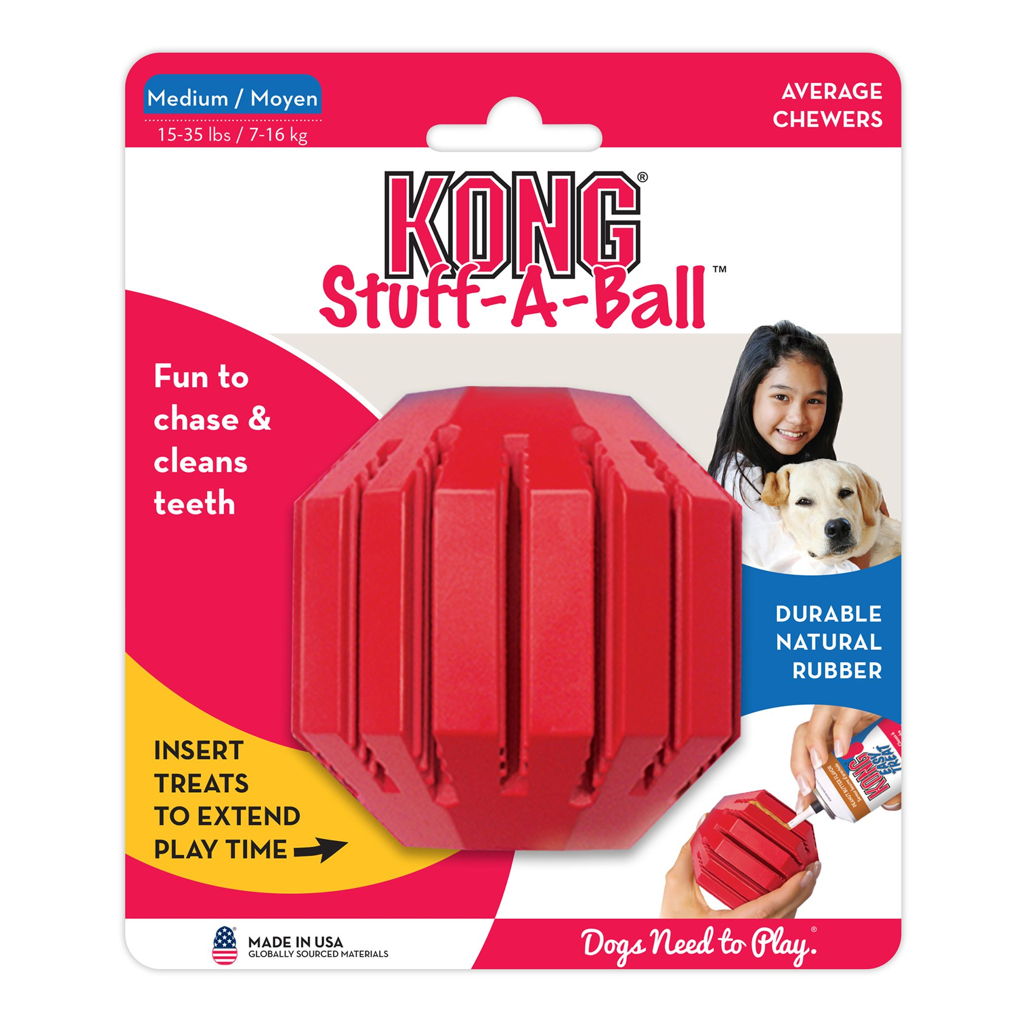 Kong Stuff-A-Ball, Treat Dispensing Dog Toy size: Medium, Red 5060568