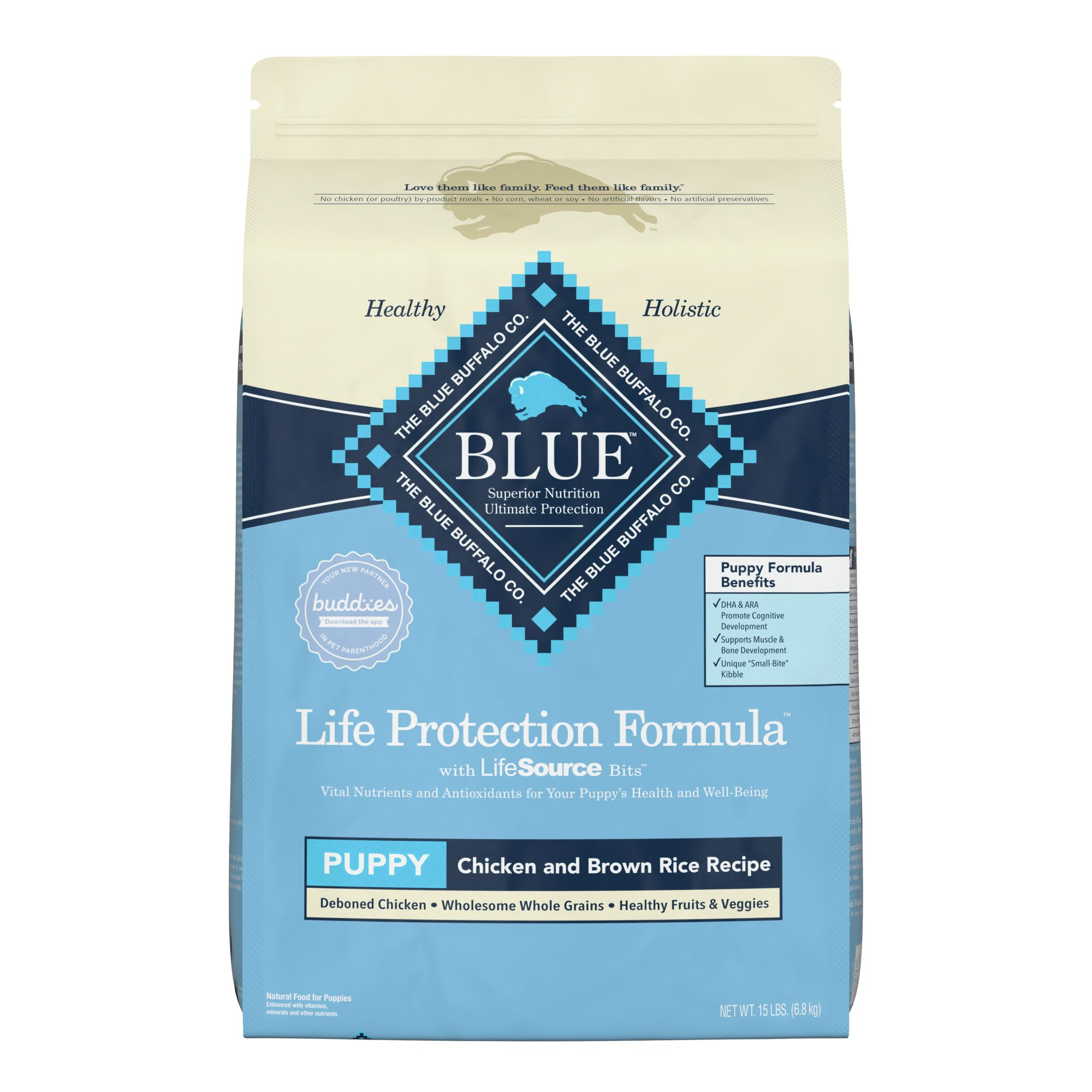 Blue Life Protection Formula Puppy Food Chicken And Brown Rice Size 15 Lb Blue Buffalo