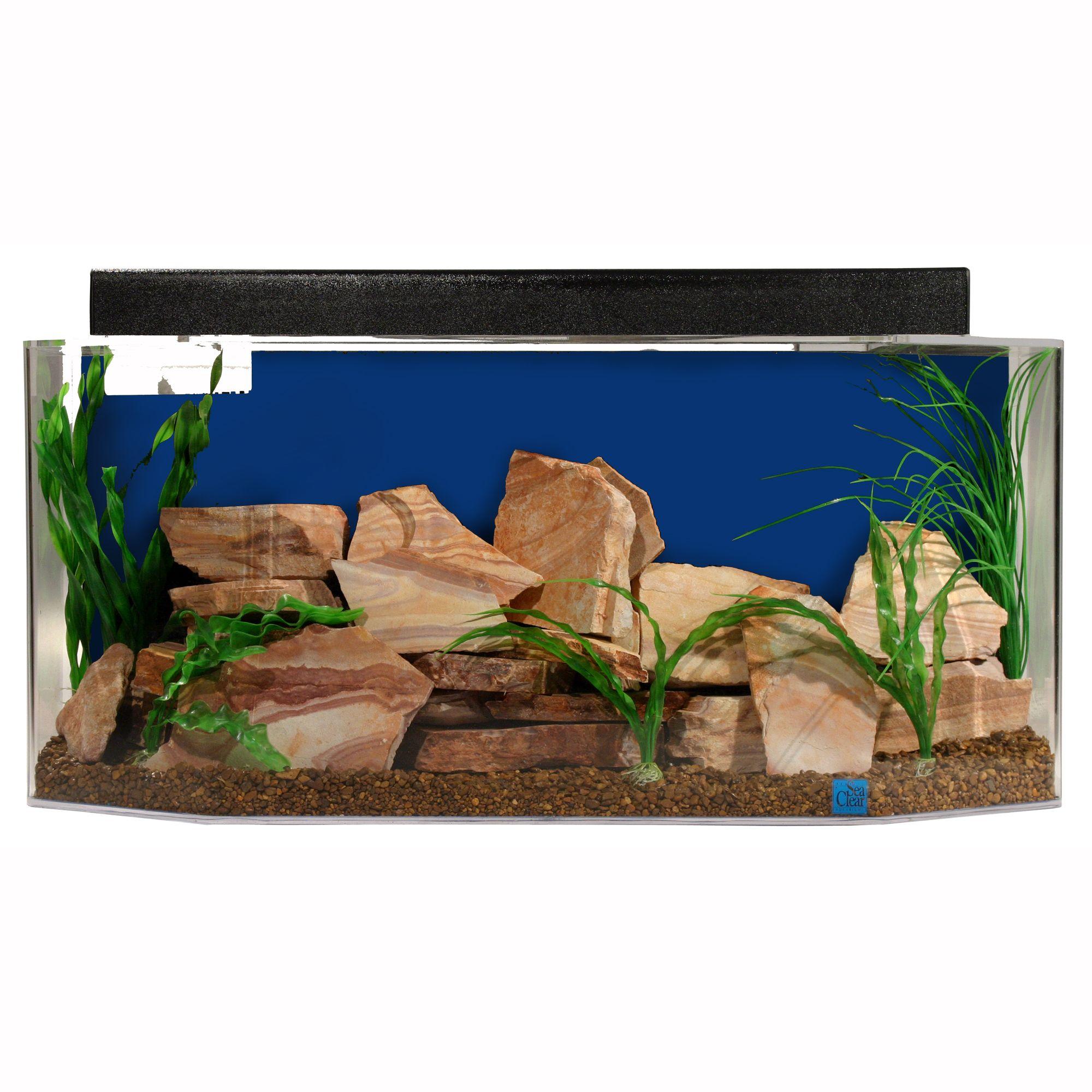 Seaclear 26 Gallon System Ll Hexagon Aquarium Size 26 Gal Cobalt Blue