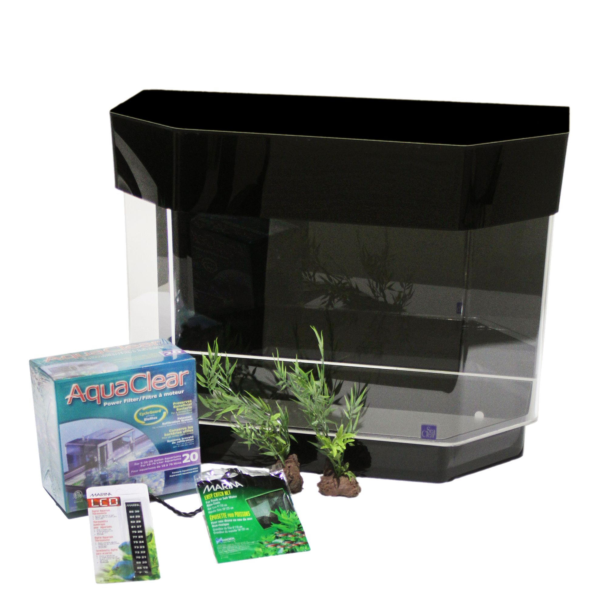 Seaclear 10 Gallon Flat Back Hexagon Aquarium Starter Kit Size 10 Gal Black North American Pet Products