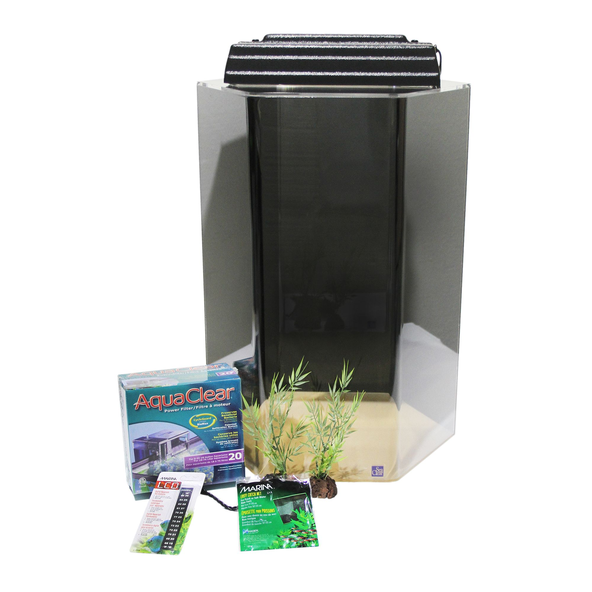 SeaClear Hexagon Tank 20 Gallon Aquarium Kit, Black 5073970
