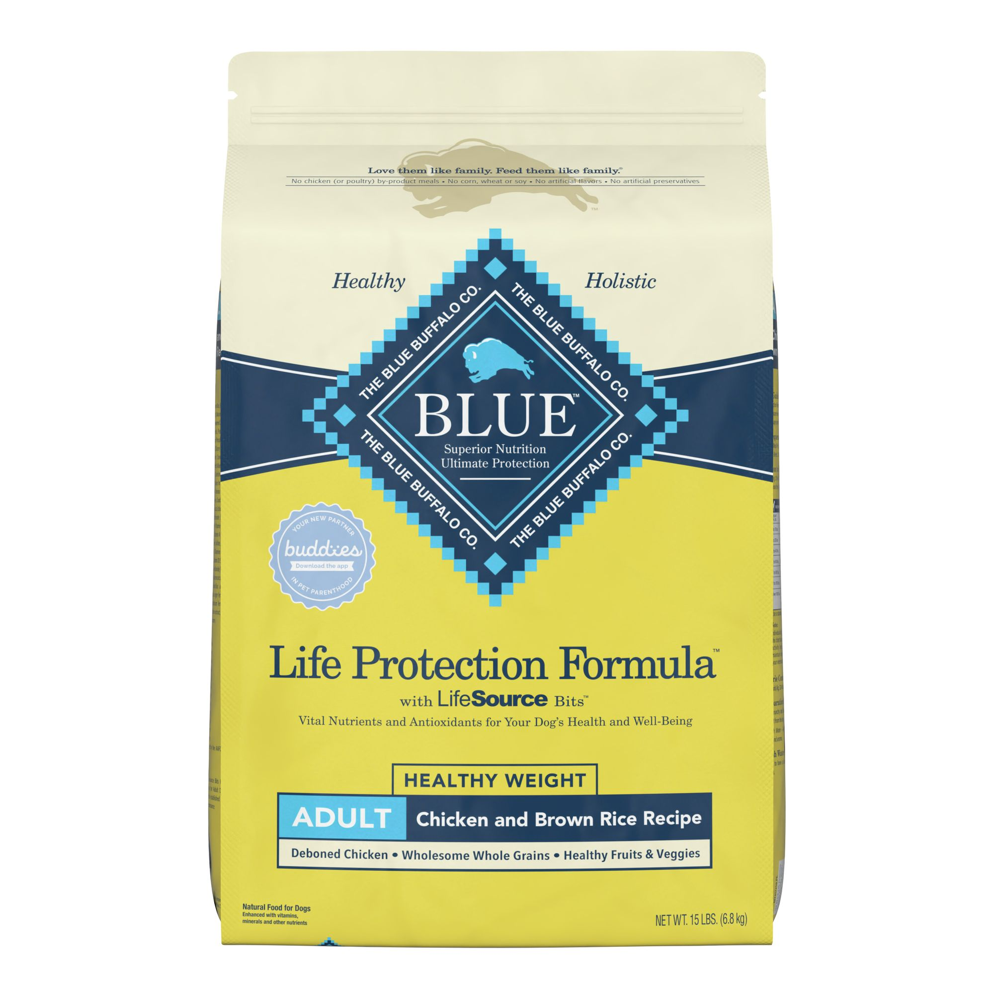 Blue Life Protection Formula Healthy Weight Adult Dog Food Chicken And Brown Rice Size 15 Lb Blue Buffalo