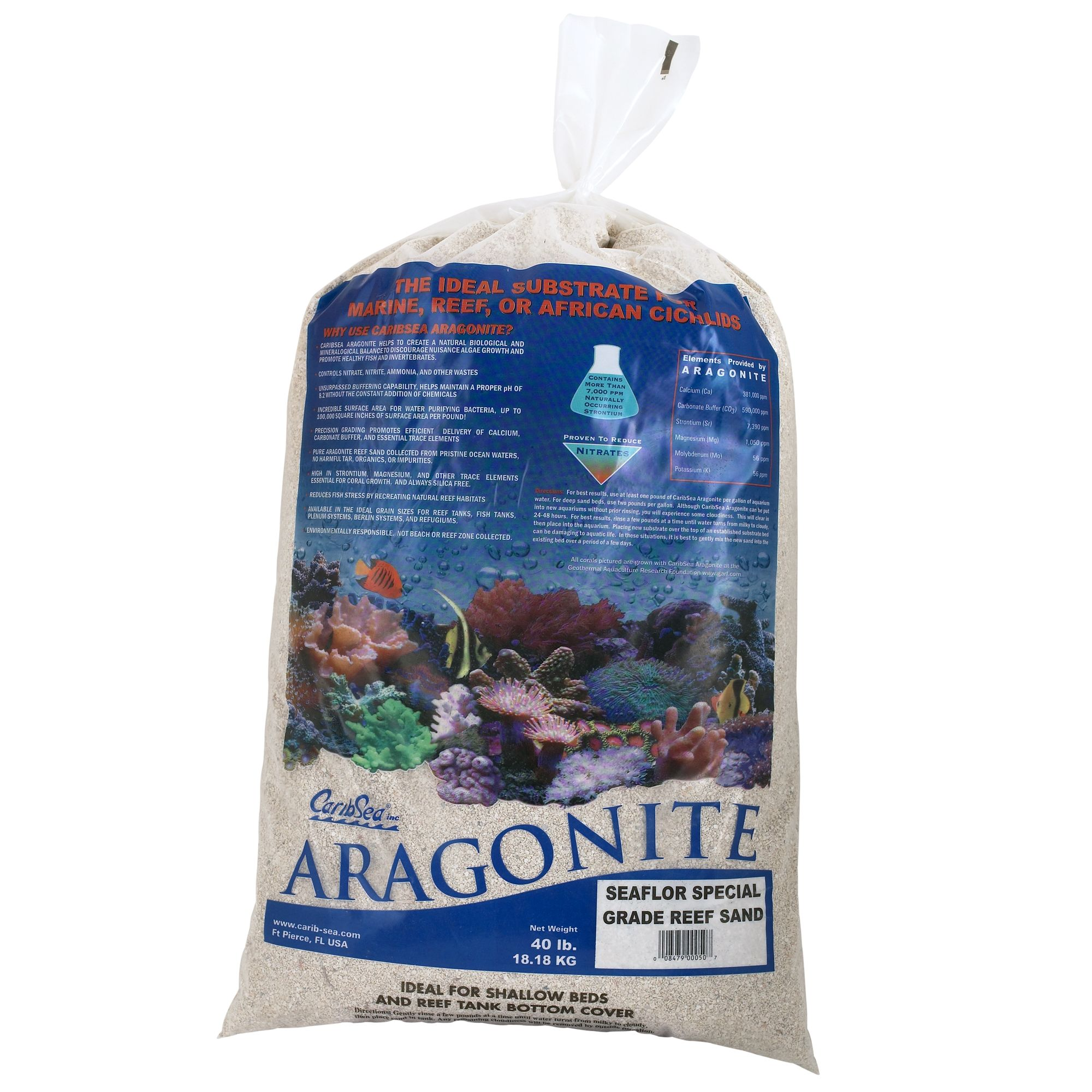 Caribsea Aragonite Aquarium Reef Sand Size 40 Lb White