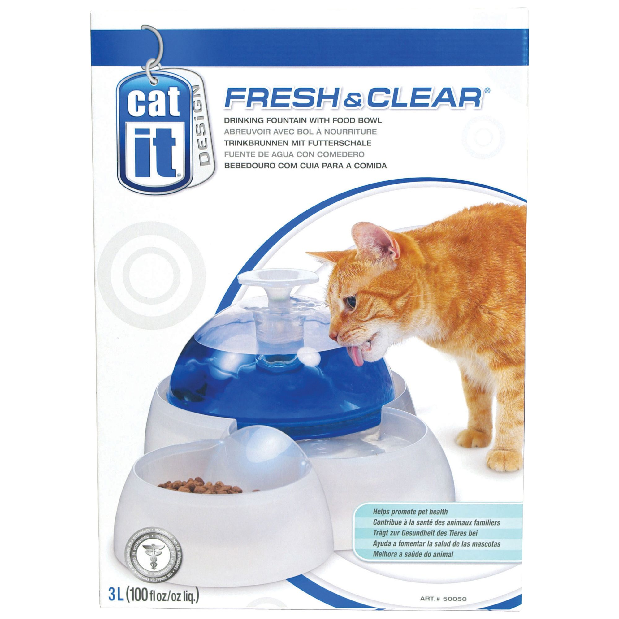 Catit Design Fresh And Clear Pet Feeder And Fountain Size 100 Oz White