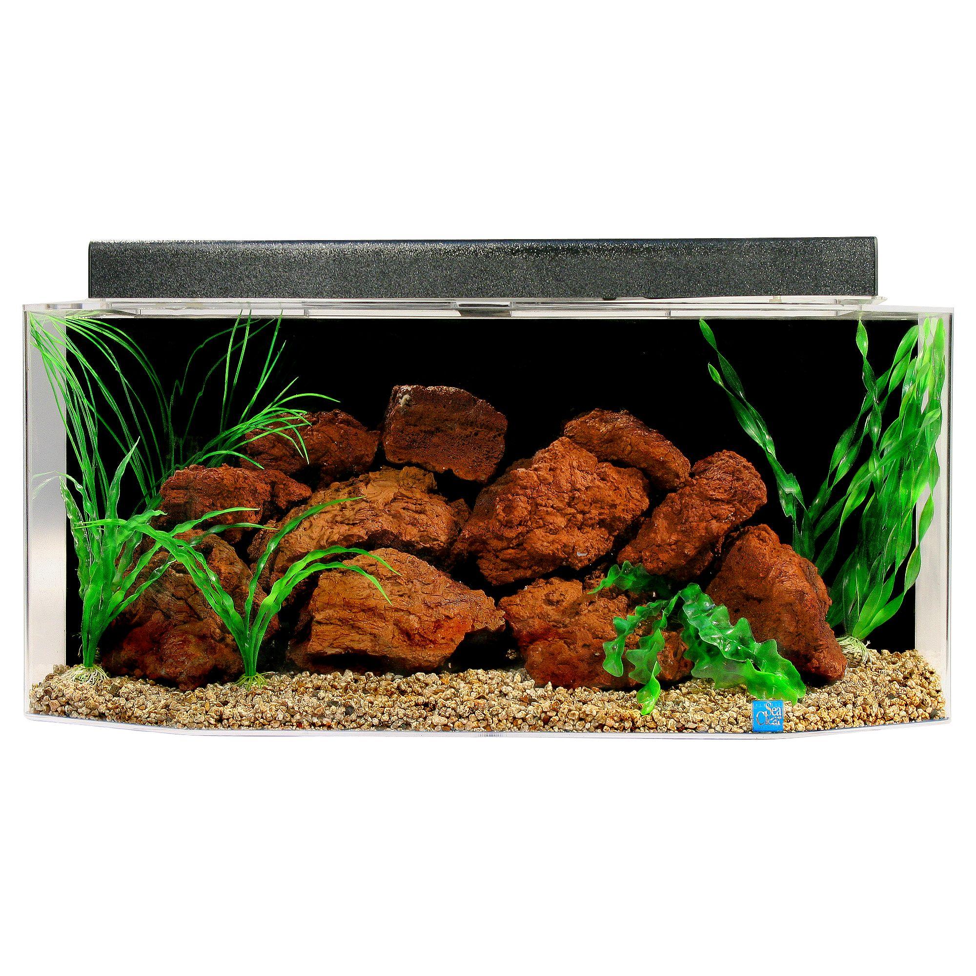 Seaclear 26 Gallon Flat Back Hexagon Aquarium Size 26 Gal Black