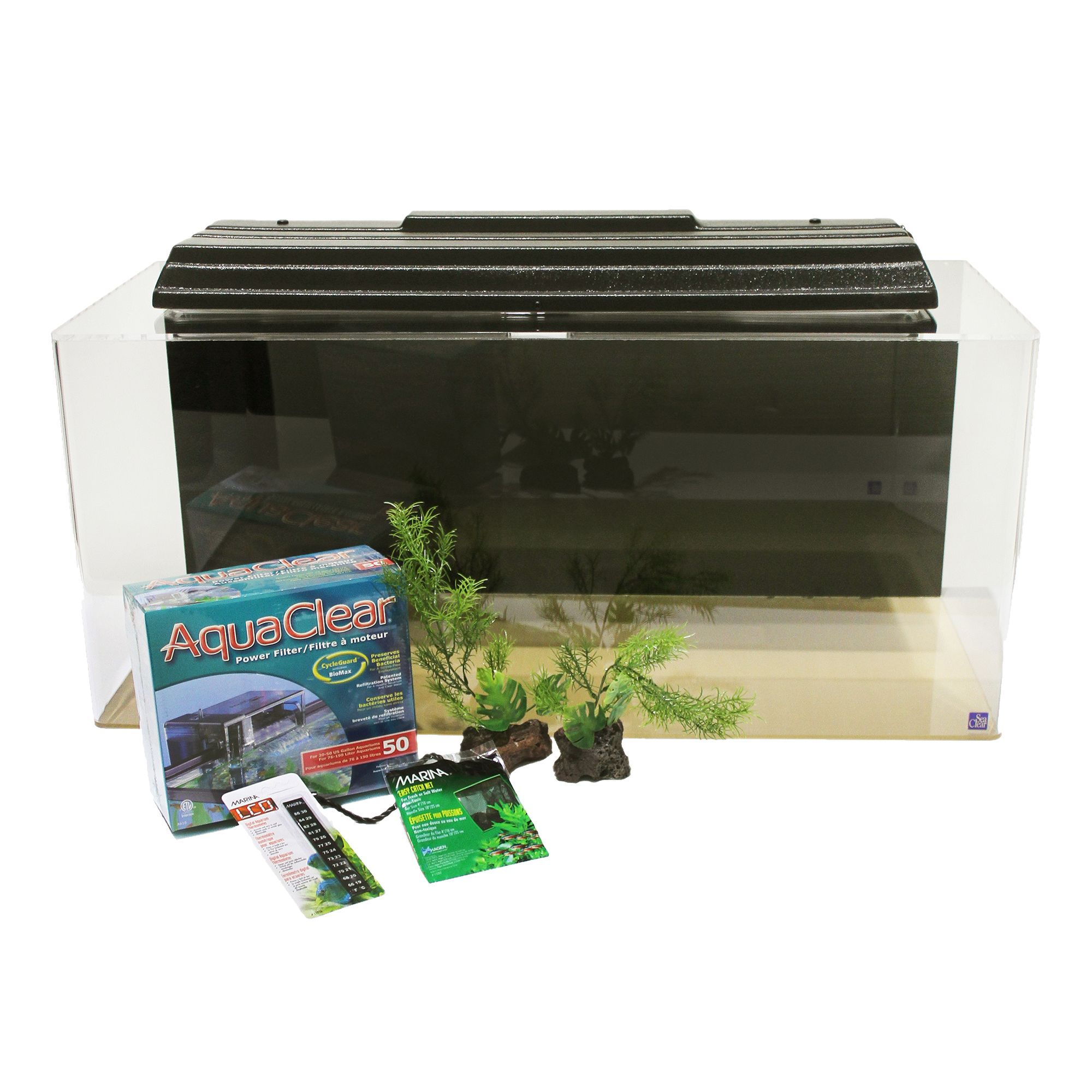 Seaclear 40 Gallon Aquarium And Complete Starter Kit Size 40 Gal Black North American Pet Products