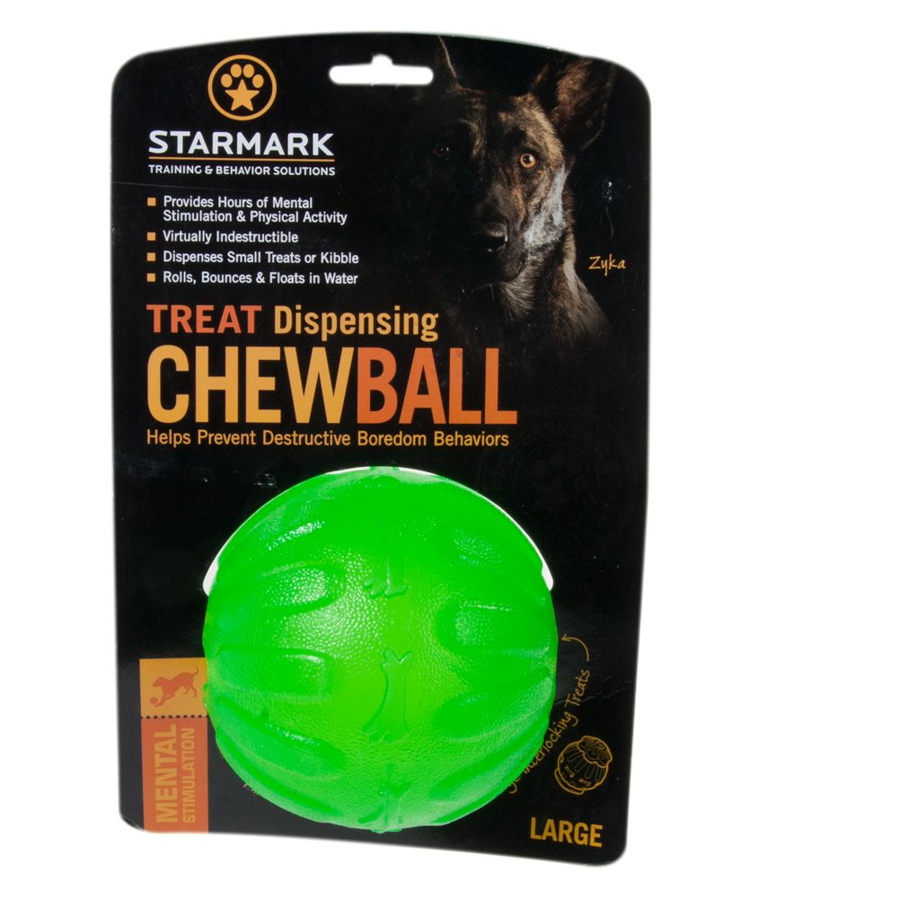 Starmark Chew Ball Treat Dispenser Dog Toy size: Large, Green