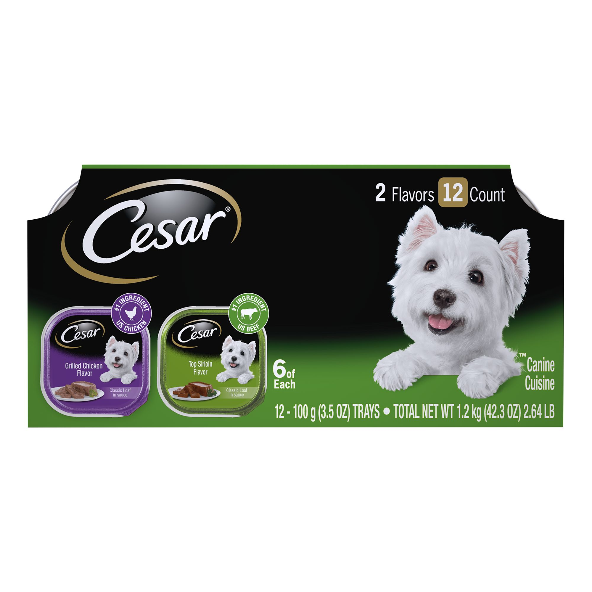 Cesar Canine Cuisine Dog Food - MultiPack size: 3.5 Oz, Variety, Adult, Water 5114494