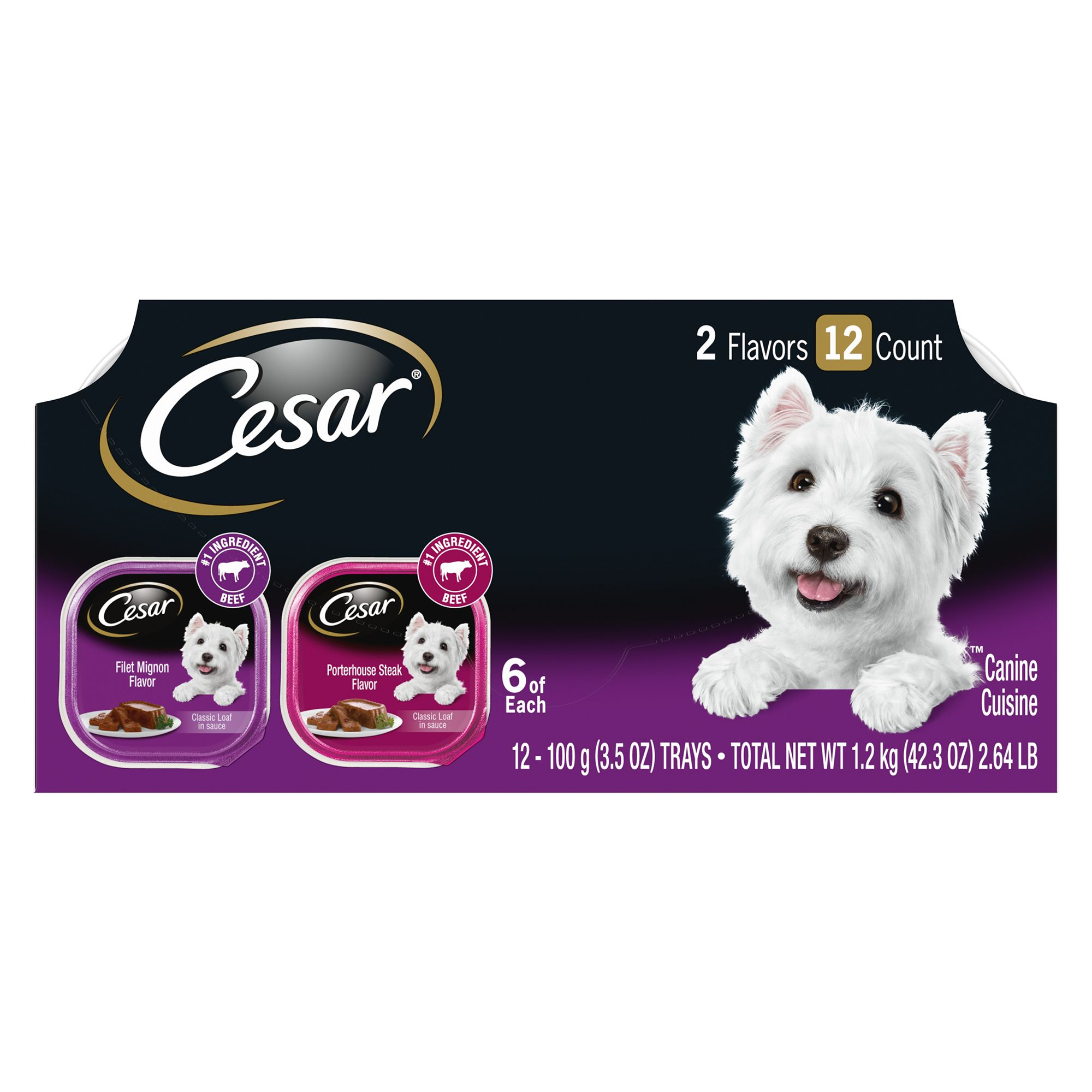 Cesar Canine Cuisine Dog Food Multipack Size 3.5 Oz
